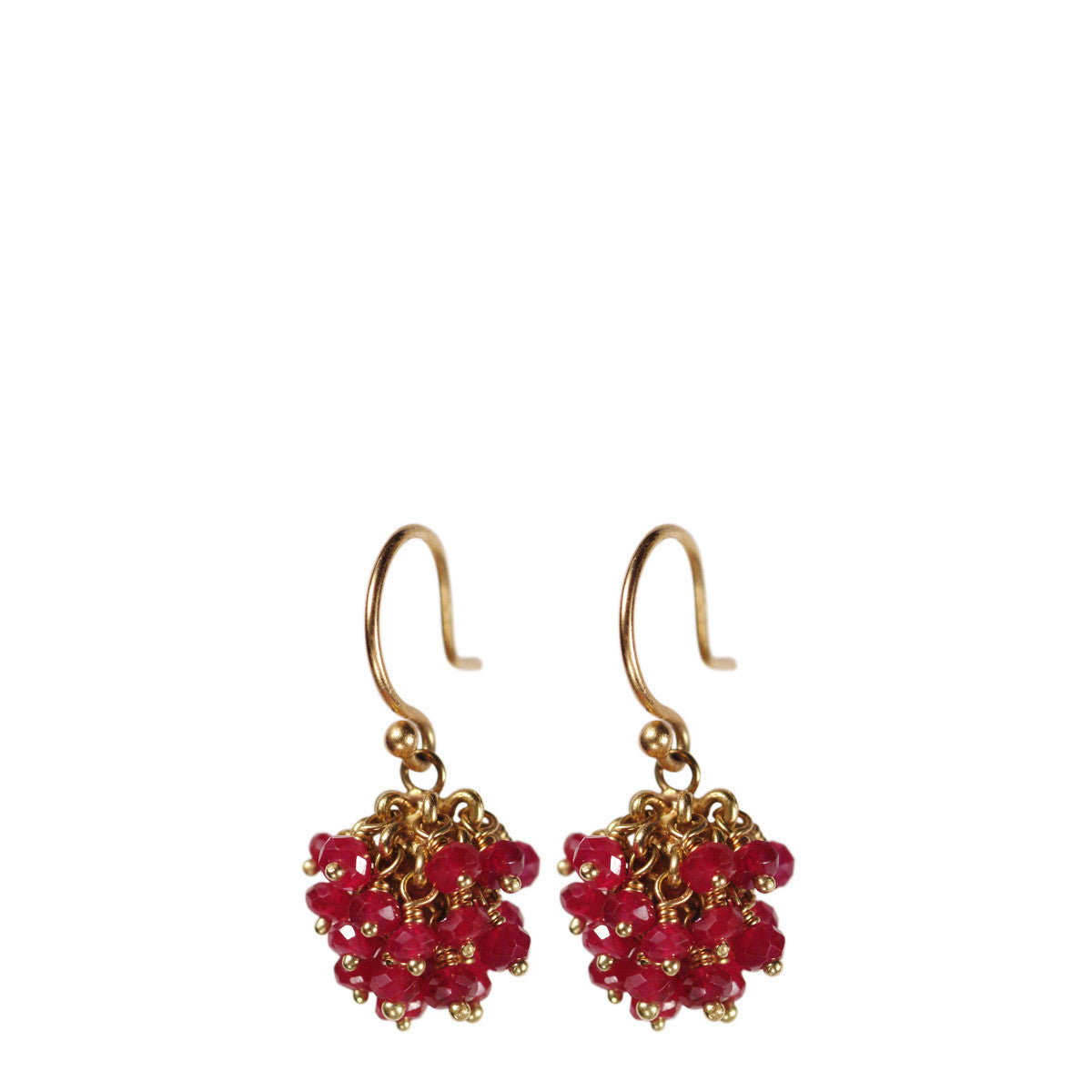 18K Gold All Ruby Bead Ball Earrings