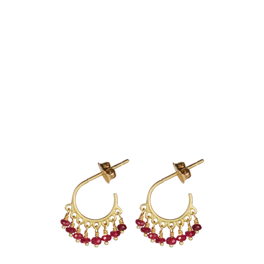 18K Gold Small Fine Ruby Beaded Hoop Earrings