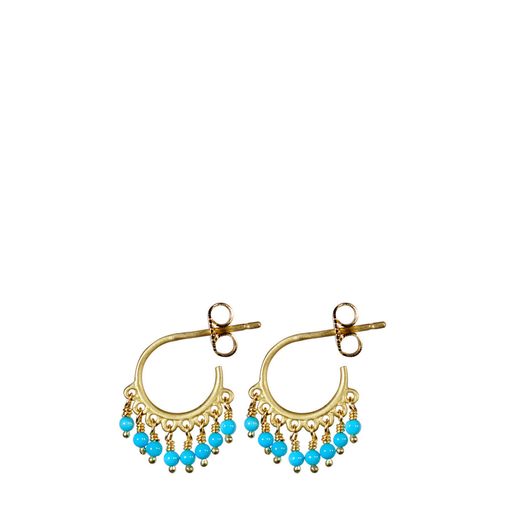 18K Gold Small Fine Turquoise Beaded Hoop Earrings
