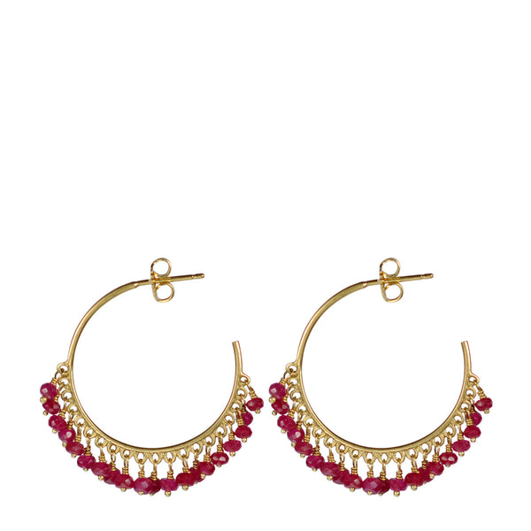 18K Gold Medium Fine Ruby Beaded Hoop Earrings