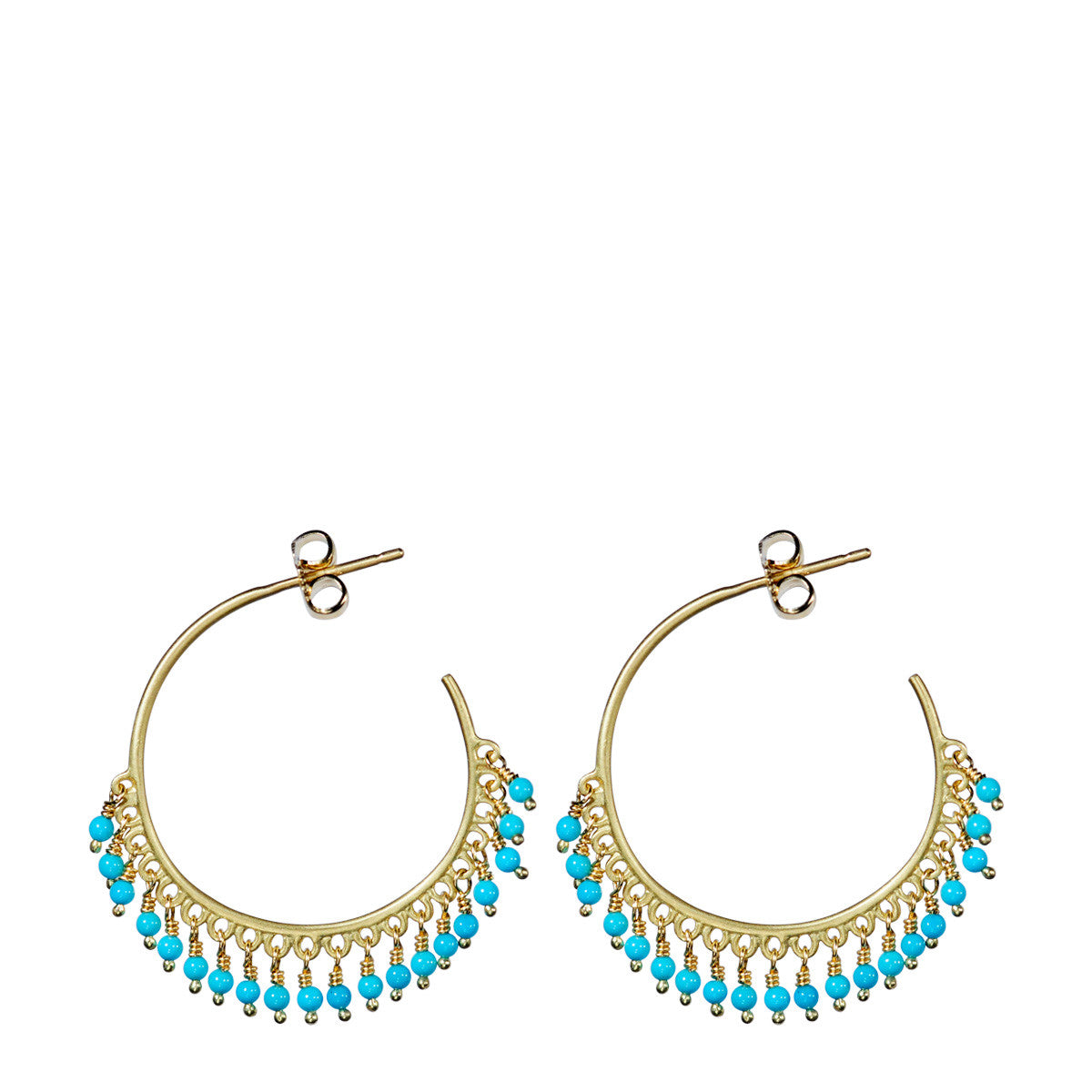 18K Gold Medium Fine Turquoise Beaded Hoop Earrings