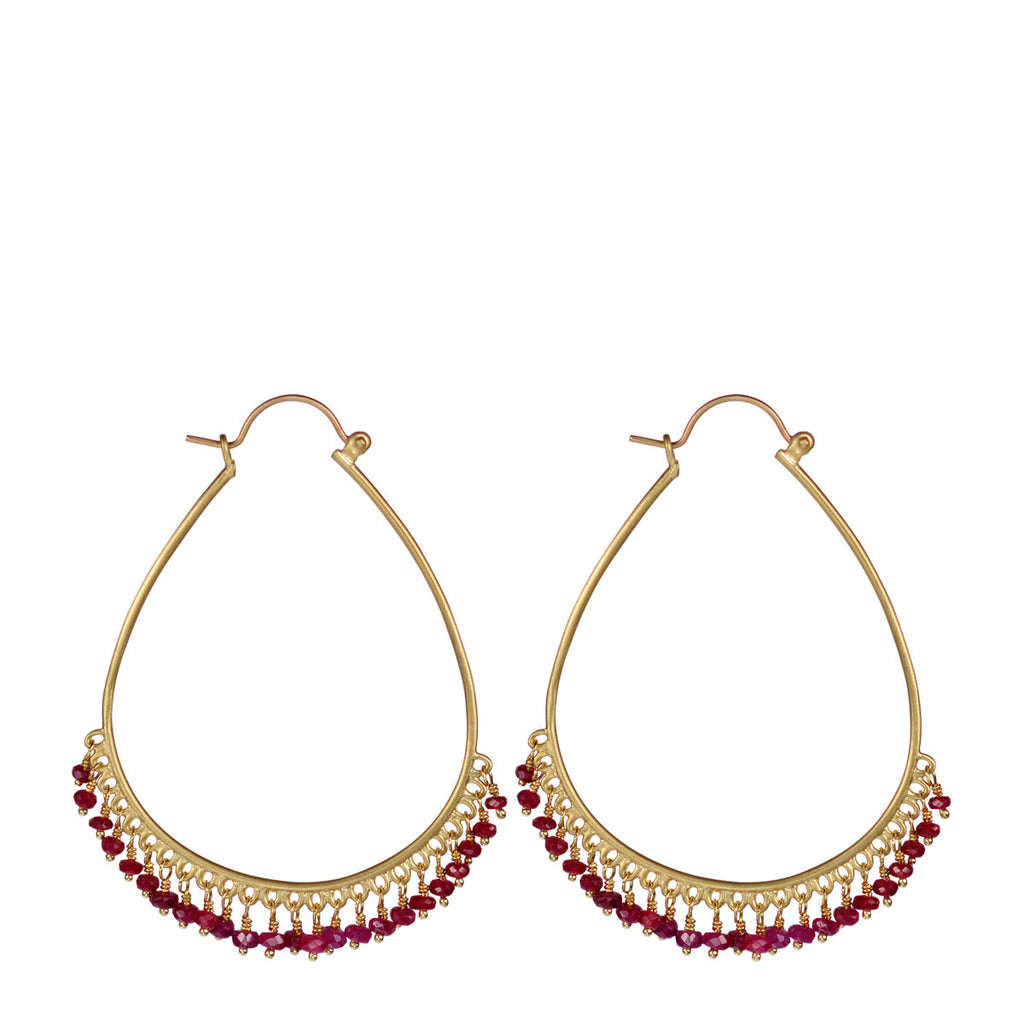 18K Gold Large Fine Oval Ruby Beaded Hoop Earrings