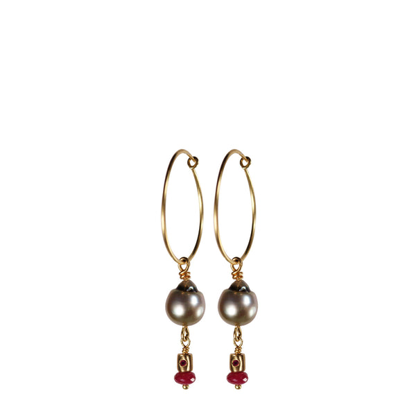 18K Gold Simple Hoop Earrings with Tahitian Pearls