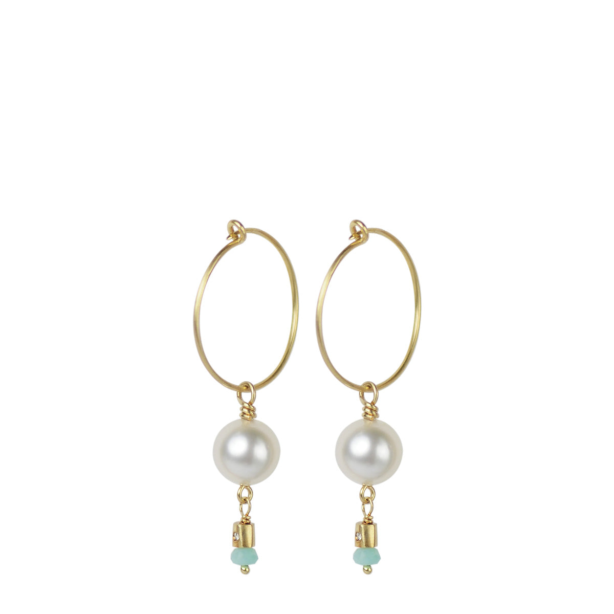 18K Gold Simple Hoop Earrings with South Sea Pearls and Peruvian Opal Beads