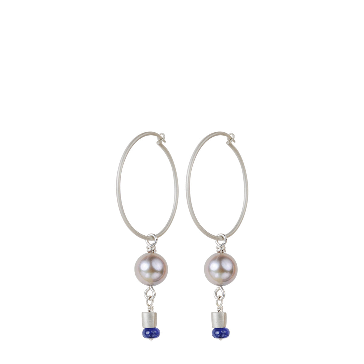 Sterling Silver Simple Hoop Earrings with Akoya Pearls and Blue Sapphire Beads