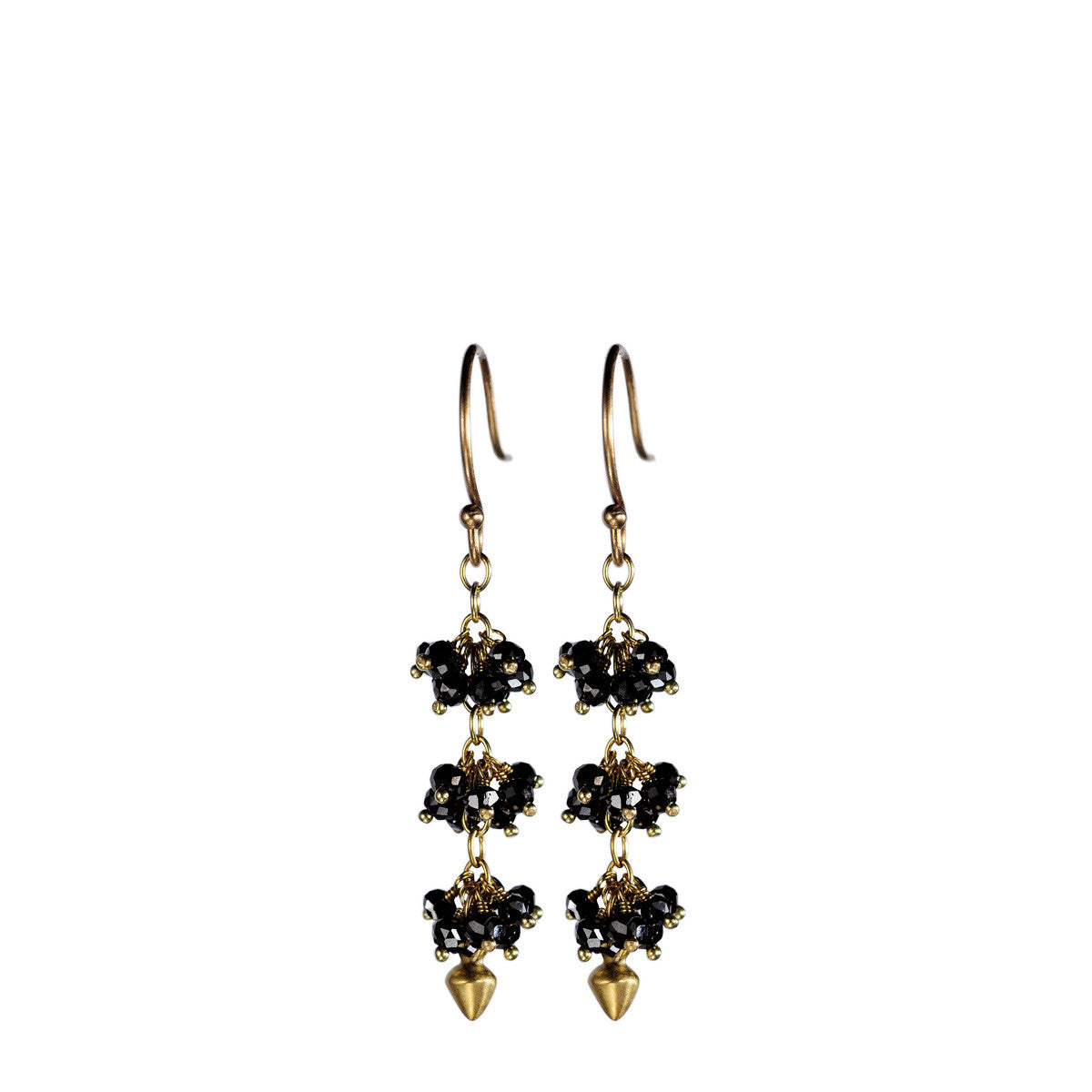 18K Gold 3 Beaded Black Diamonds Cluster Earrings with Lotus Buds