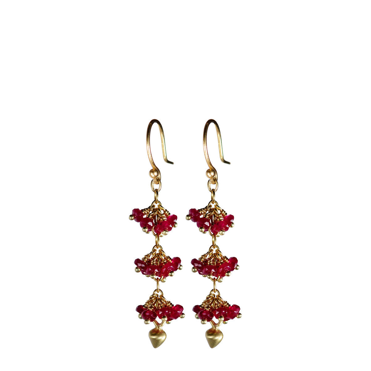 18K Gold 3 Beaded Ruby Cluster Earrings with Lotus Buds