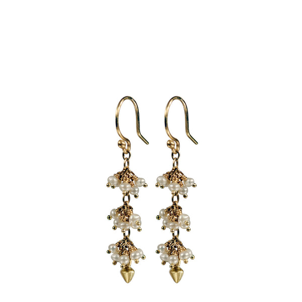 18K Gold 3 Beaded Seed Pearl Cluster Earrings with Lotus Buds