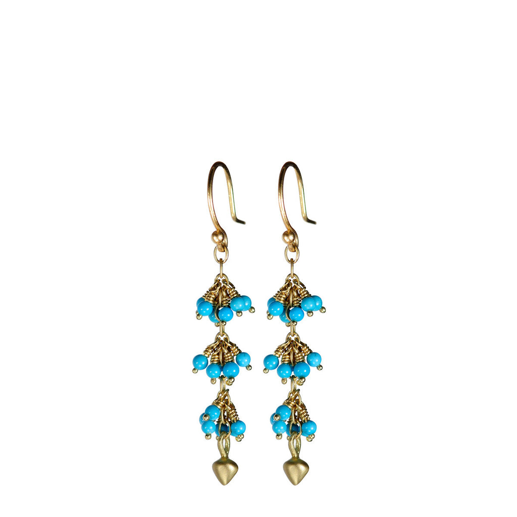 18K Gold 3 Beaded Turquoise Cluster Earrings with Lotus Buds