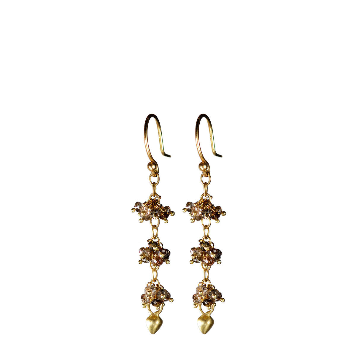 18K Gold 3 Beaded Brown Diamond Cluster Earrings with Lotus Buds