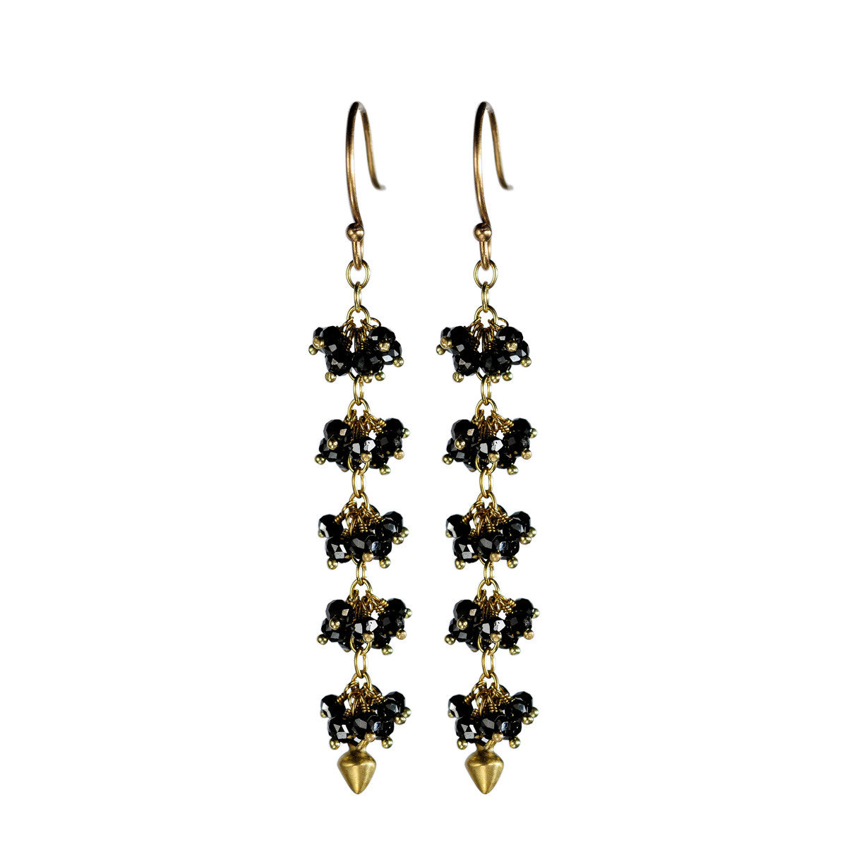 18K Gold 5 Beaded  Black Diamond Cluster Earrings with Lotus Buds