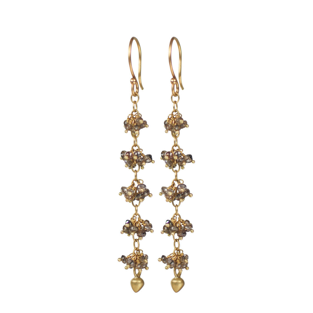 18K Gold 5 Beaded Brown Diamond Cluster Earrings with Lotus Buds