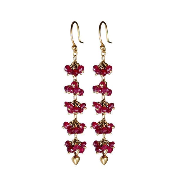 18K Gold 5 Beaded Ruby Cluster Earrings with Lotus Buds