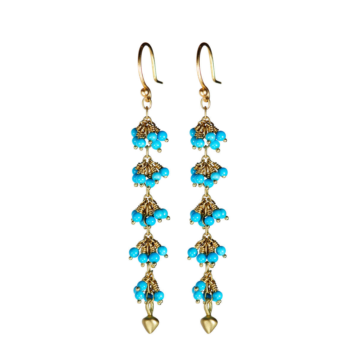 18K Gold 5 Beaded Turquoise Cluster Earrings with Lotus Buds