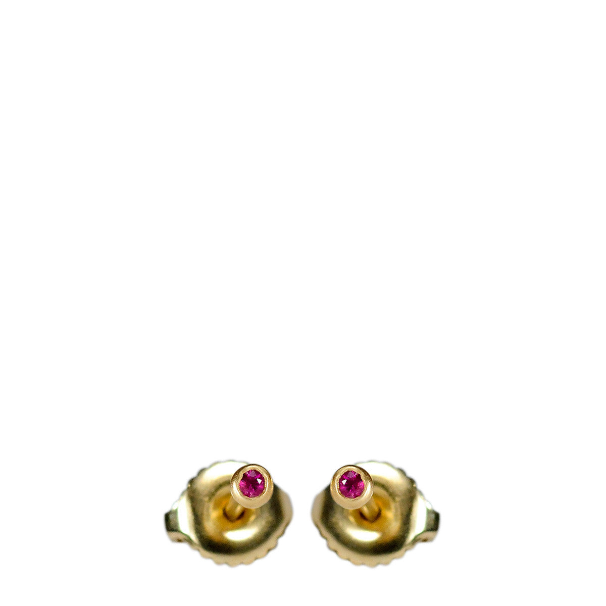 18K Gold 2mm Ruby Stud Earrings