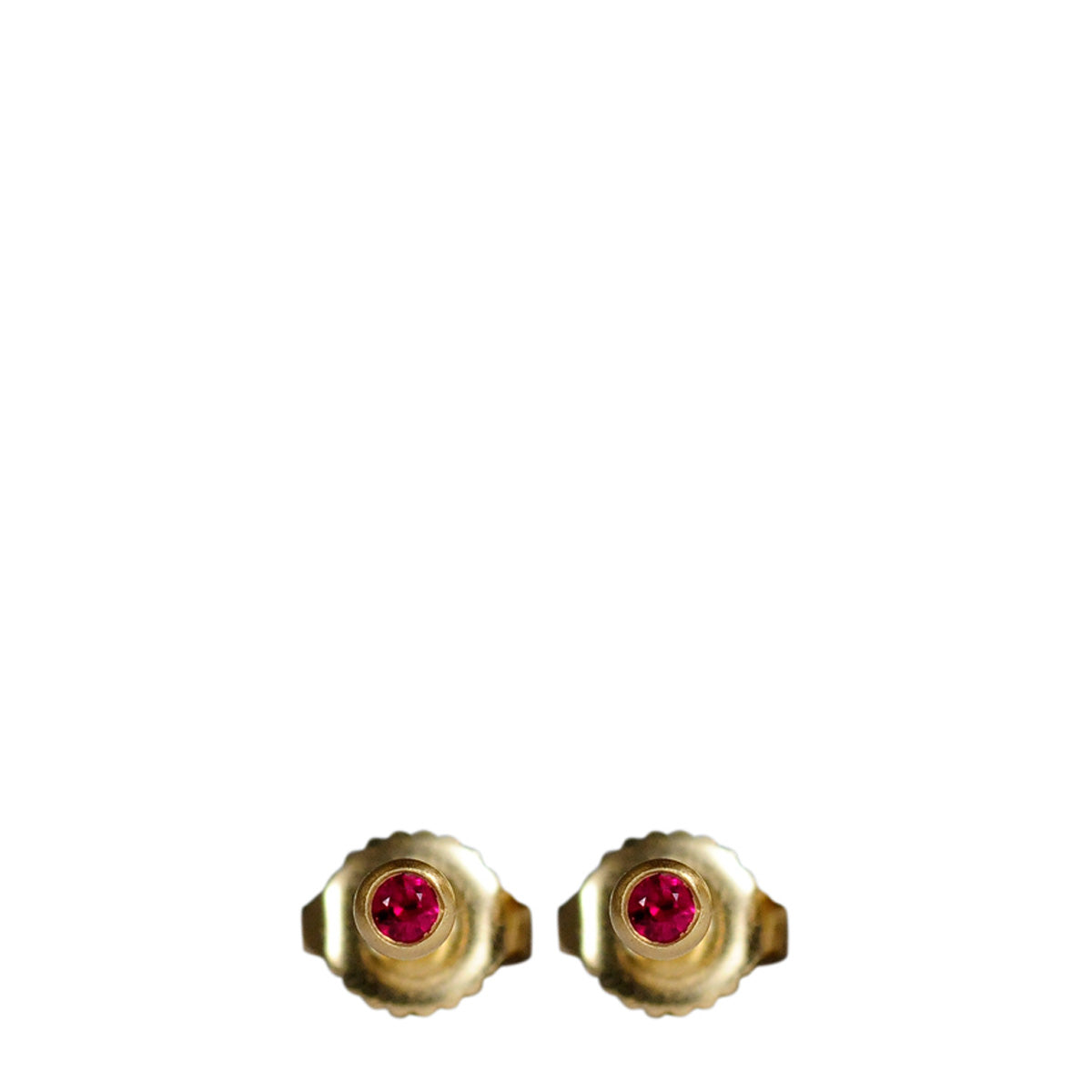 18K Gold 3mm Ruby Stud Earrings
