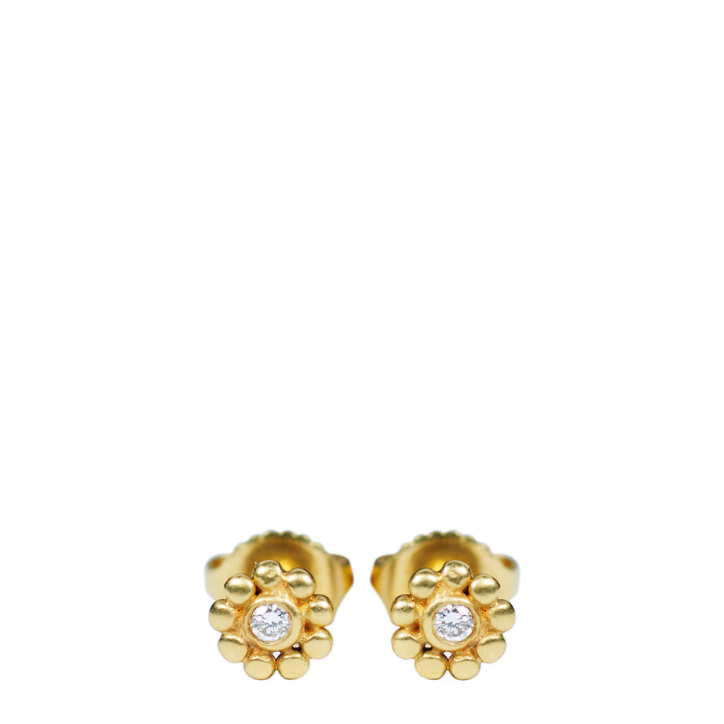 18K Gold Tiny Java Flower Stud Earrings with Diamonds