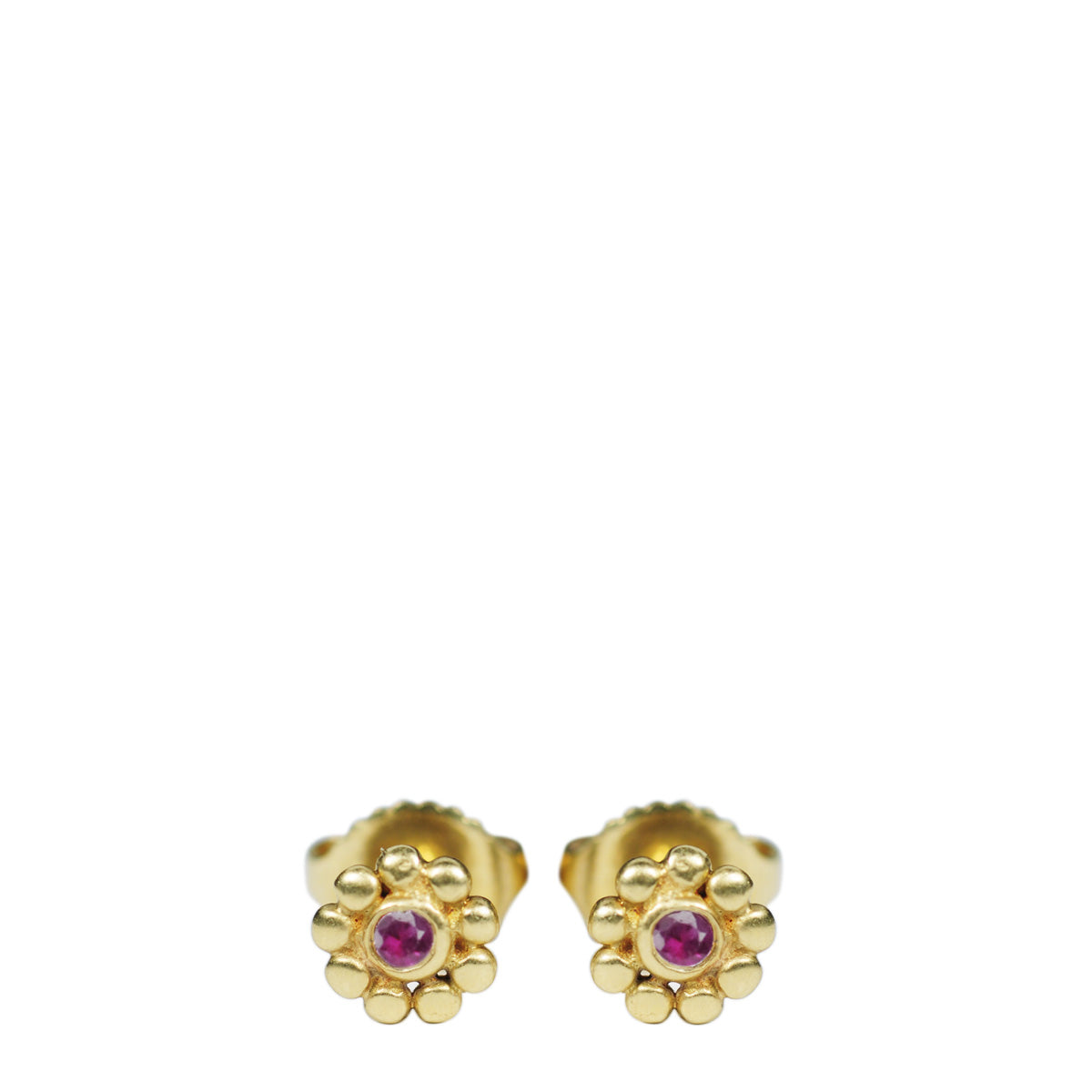 18K Gold Tiny Java Flower Stud Earrings with Rubies