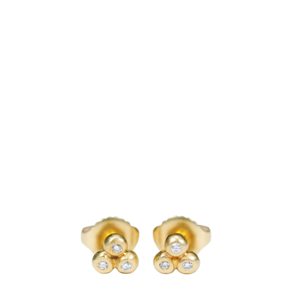18K Gold Tiny 3 Ball Stud Earrings with Diamonds