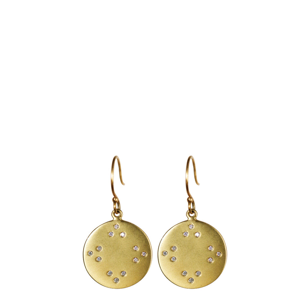 18K Gold Tibetan Mirror Disc Earrings with Diamonds