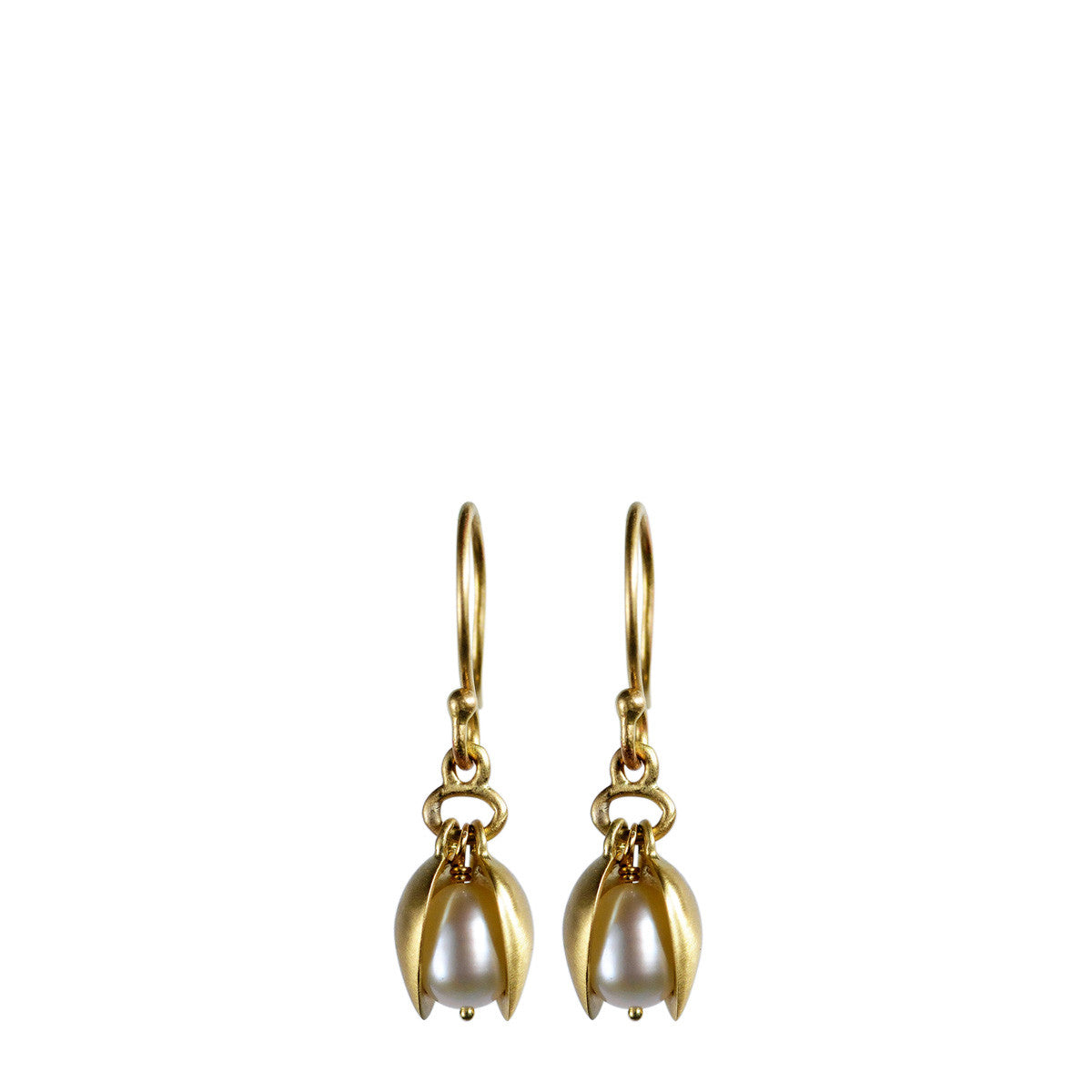 18K Gold Small Pod Earrings with Pearls