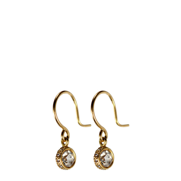 18K Gold Double Prism Diamond Drop Earrings with Pave Edge