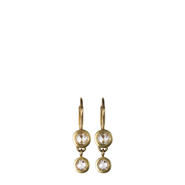18K Gold Small Indian Diamond Drop Earrings