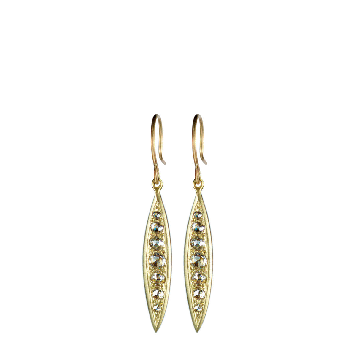 18K Gold Fine Bombay Sliver Diamond Earrings