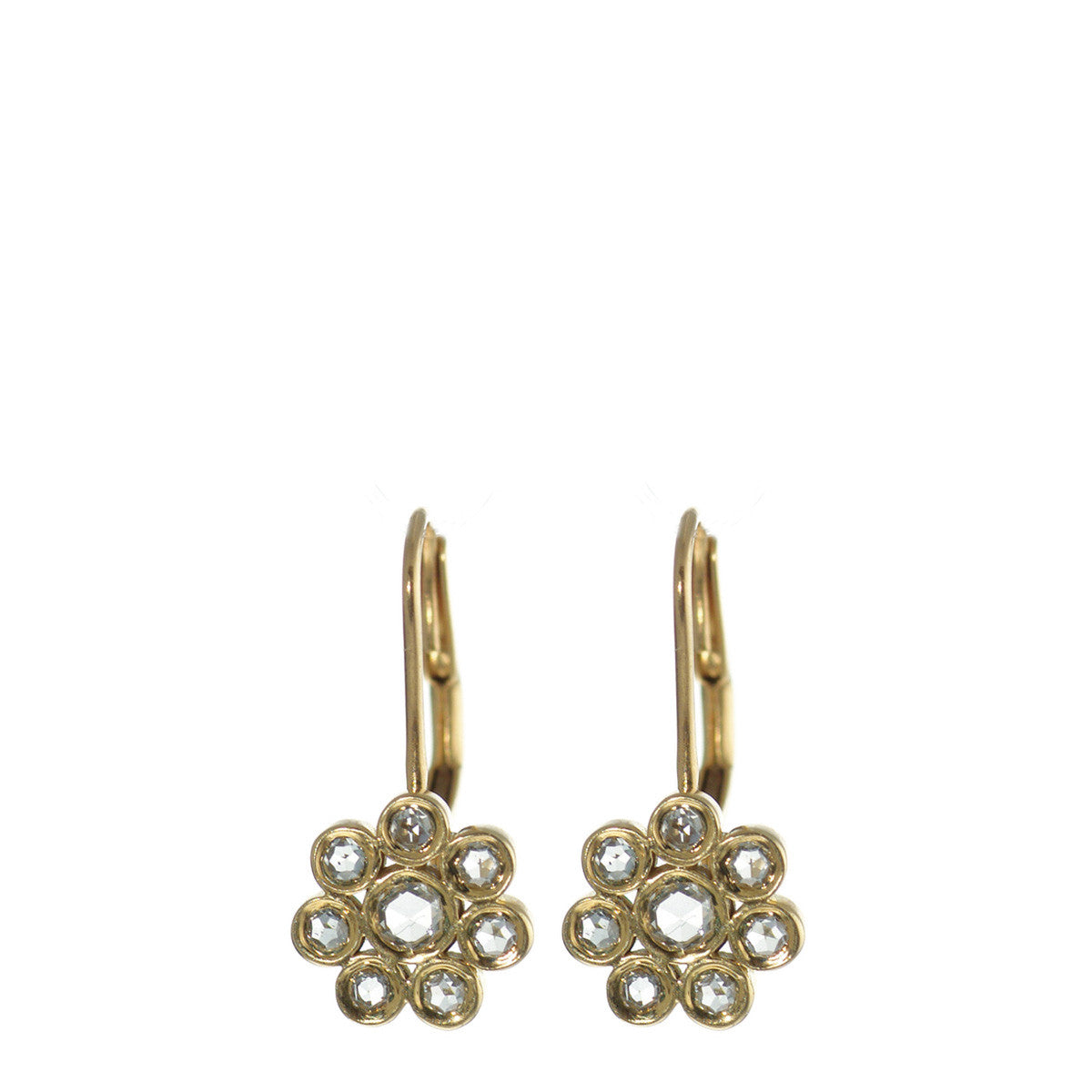 18K Gold Diamond Flower Earrings