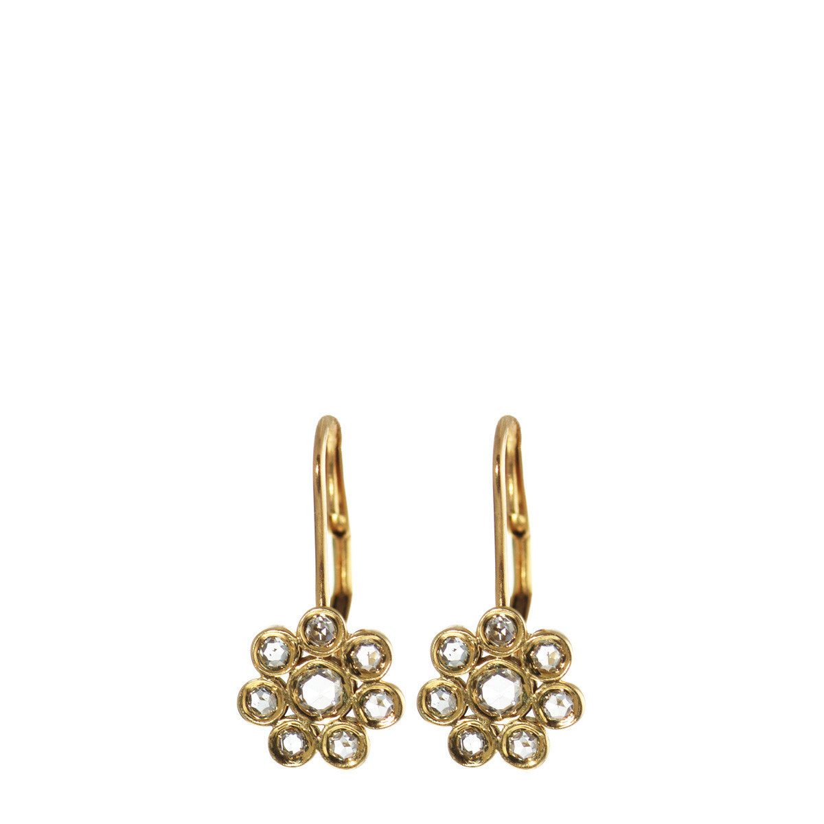 18K Gold Small Diamond Flower Earrings