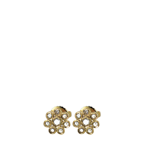 18K Gold Small Diamond Flower Stud Earrings