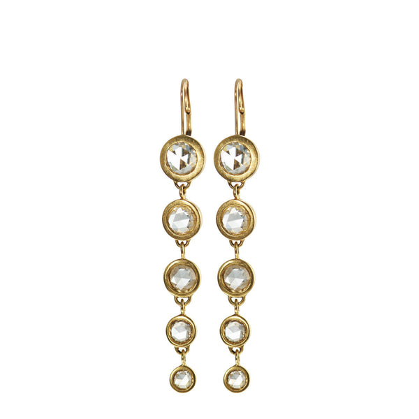 18K Gold Long Graduated Diamond Drop Earrings
