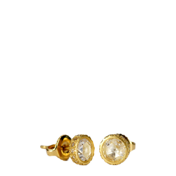 18K Gold 5mm Diamond Stud Earrings with Pave Edge