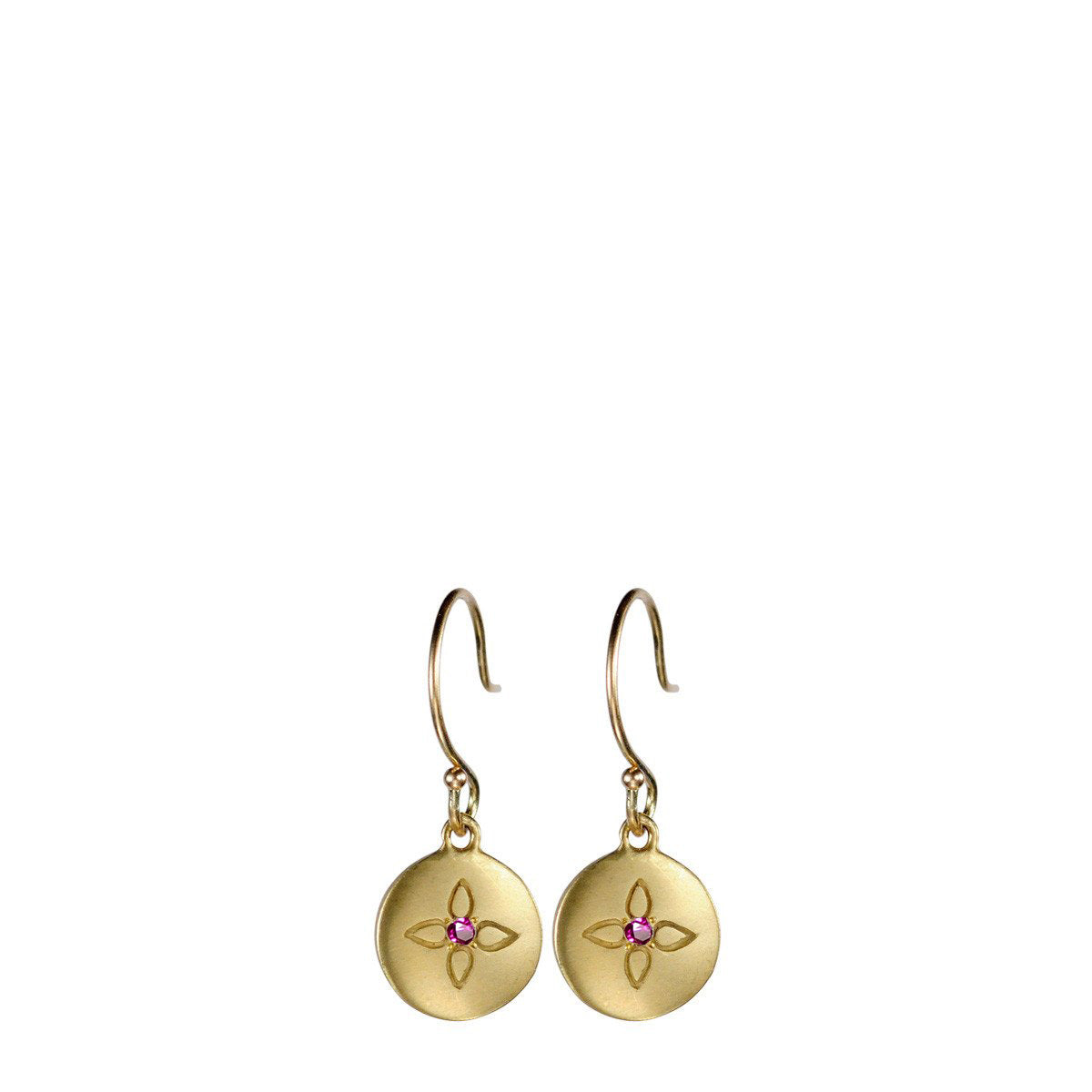 18K Gold Lotus Drop Earrings with Rubies