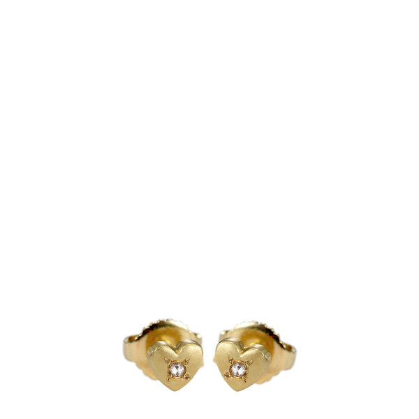 18K Gold Heart Stud Earrings with Diamonds