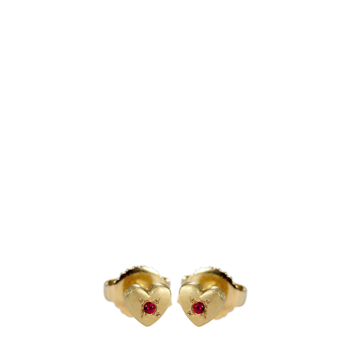 18K Gold Heart Stud Earrings with Rubies