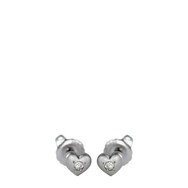 Platinum Heart Stud Earrings with Diamonds