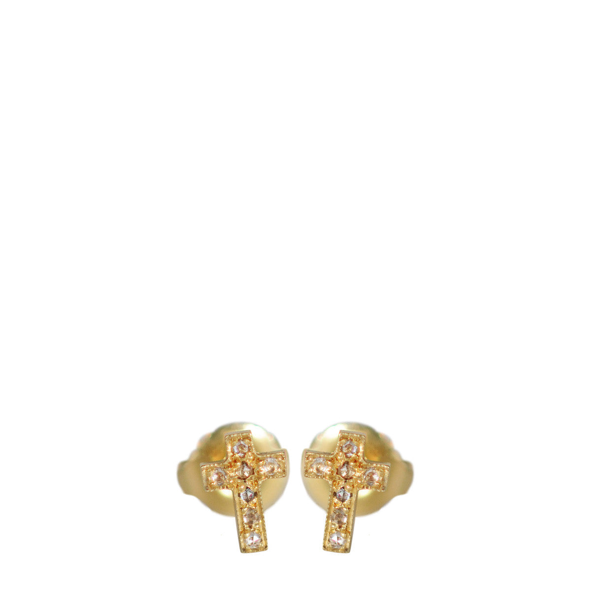 18K Gold Diamond Pave Cross Stud Earrings