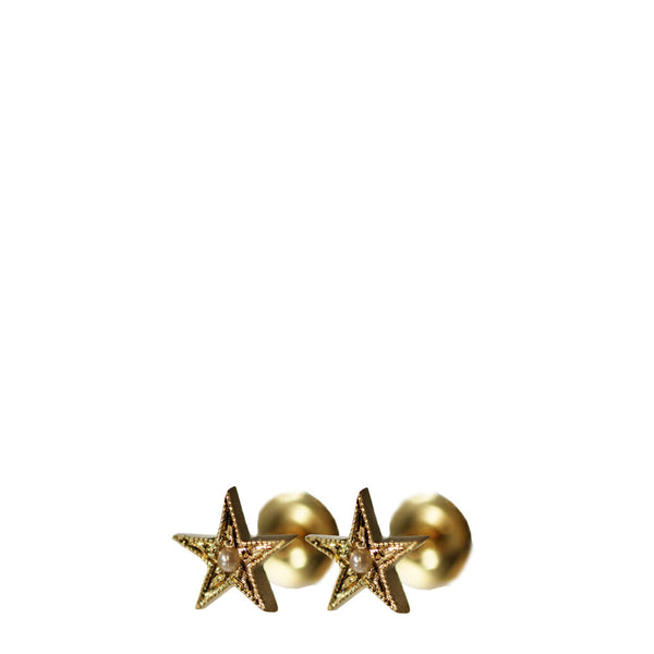 18K Gold Millgrain Star Stud Earrings with Seed Pearls