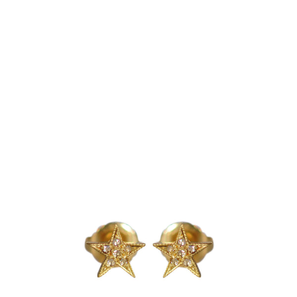 18K Gold Millgrain Star Stud Earrings with Diamonds