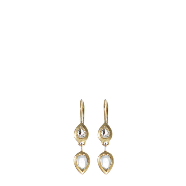 18K Gold Pear Shaped Diamond Drop Earrings