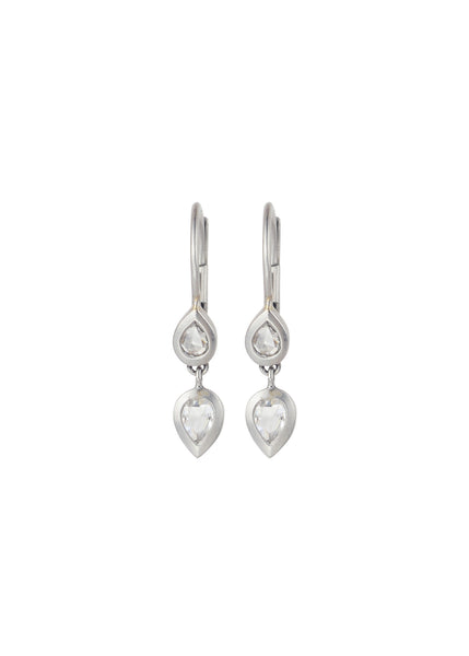 Platinum Pear Shaped Diamond Drop Earrings