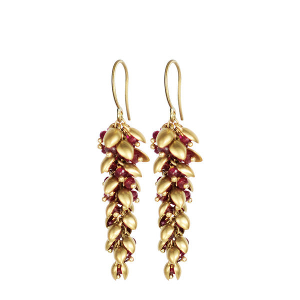 18K Gold Medium Pod Earrings with Rubies