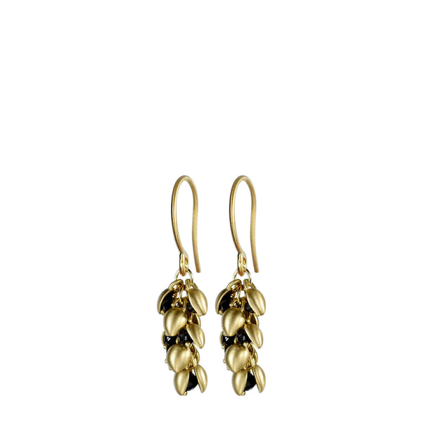 18K Gold Short Baby Pod Earrings with Black Diamonds