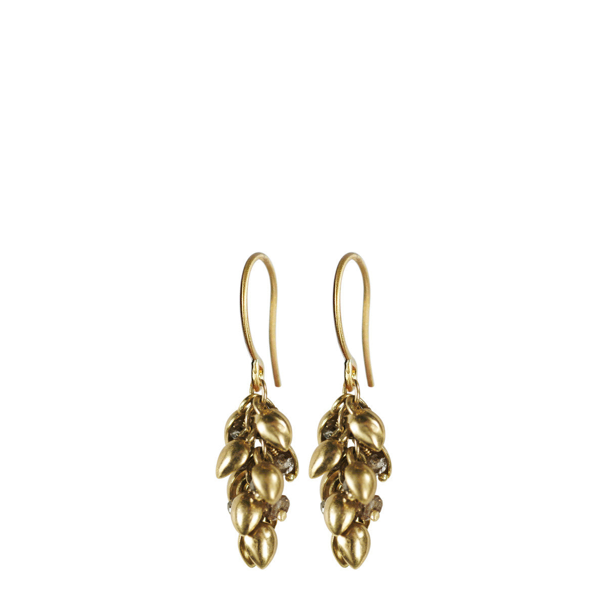 18K Gold Short Baby Pod Earrings with Brown Diamonds