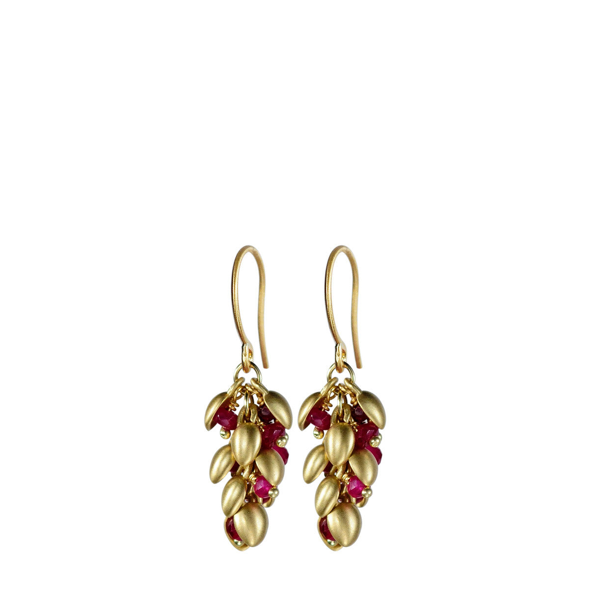 18K Gold Short Baby Pod Earrings with Rubies