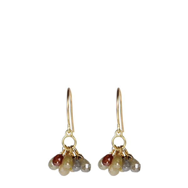 18K Gold Small Circle Drop Earrings with Small Opaque Diamond Briolettes