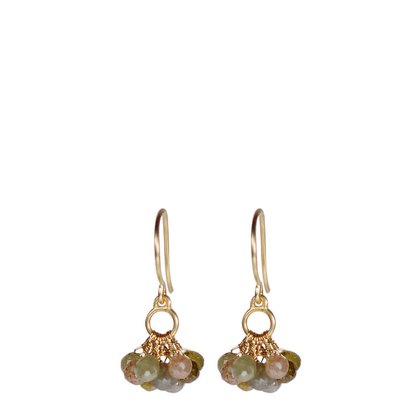18K Gold Small Circle Drop Earrings with Medium Opaque Diamond Briolettes