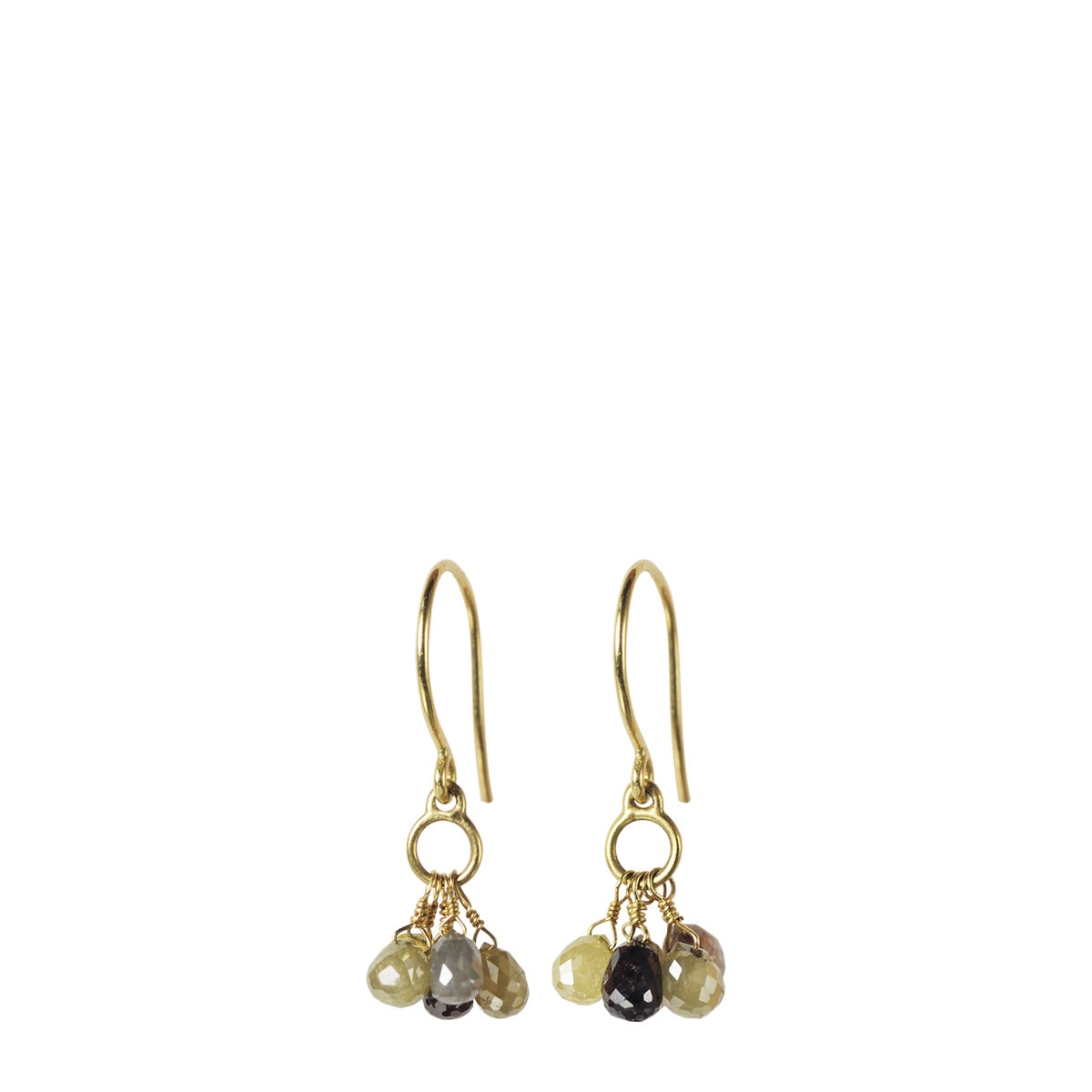 18K Gold Small Circle Drop Earrings with 5 Opaque Diamond Briolettes