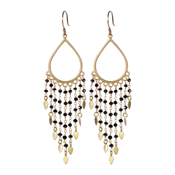 18K Gold Teardrop Black Diamond Fringe Earrings
